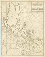 [Philippine Islands]  Carte du Canal des Iles Philippines Par leque passe le Galion de Manille. Et les Iles voisines de ce canal /  Kaart van het Kanaal in de Filippynsche Eilanden . . .  By George Anson