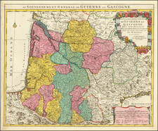 Grand Sud-Ouest Map By Guillaume De L'Isle / Pierre Mortier