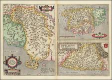 (Siena, Corsica, etc.)  Senensis Ditionis Accurata Descrip [and] Corsica [and] Marcha Anconae Olim Picenum. 1572 By Abraham Ortelius