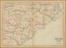 North Carolina and South Carolina Map By Asher  &  Adams