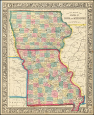 County Map of the States of Iowa and Missouri By Samuel Augustus Mitchell Jr.