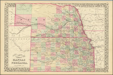 County & Township Map of the States of Kansas and Nebraska By Samuel Augustus Mitchell Jr.