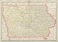 Iowa Map By George F. Cram