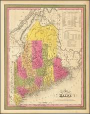 Maine Map By Samuel Augustus Mitchell