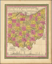 A New Map of Ohio with its Canals, Roads & Distances . . .1847 By Samuel Augustus Mitchell