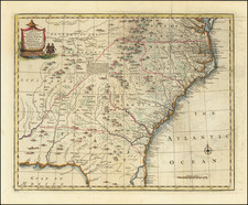 Florida, Southeast, Virginia, Georgia, North Carolina and South Carolina Map By Emanuel Bowen