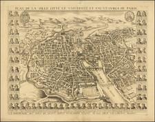 Paris and Île-de-France Map By Gerard Jollain