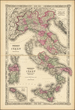 Italy, Northern Italy, Southern Italy and Malta Map By Alvin Jewett Johnson  &  Ross C. Browning