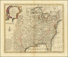 United States, Mid-Atlantic, South, Southeast, Texas, Midwest and Plains Map By Emanuel Bowen