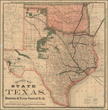 Texas and Oklahoma & Indian Territory Map By Houston & Texas Central R.R.