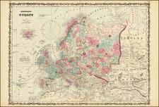 Europe Map By Alvin Jewett Johnson  &  Benjamin P Ward