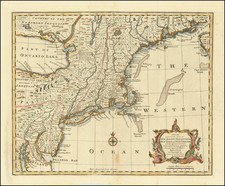 New England, New York State and Mid-Atlantic Map By Emanuel Bowen