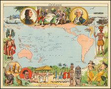 Pacific Ocean, Pacific, Australia, Other Pacific Islands and Pictorial Maps Map By Joseph Porphyre Pinchon
