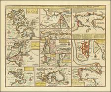 New York City, Florida, Caribbean, Cuba, Bahamas, Colombia, Martinique, Boston and Eastern Canada Map By Emanuel Bowen