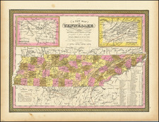 A New Map of Tennessee with its Roads & Distances from place to place along the Stage & Steam Boat Routes. . . 1846 By Samuel Augustus Mitchell