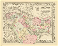 Central Asia & Caucasus, Persia & Iraq and Turkey & Asia Minor Map By Samuel Augustus Mitchell Jr.