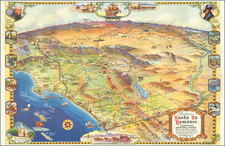 Pictorial Maps, California, Los Angeles and San Diego Map By Claude Putnam / Karl F. Brown