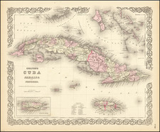 Cuba, Jamaica, Puerto Rico and Bahamas Map By G.W.  & C.B. Colton