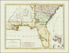 Florida, Southeast and Georgia Map By Pierre Antoine Tardieu