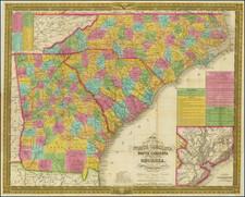 Georgia, North Carolina and South Carolina Map By Samuel Augustus Mitchell
