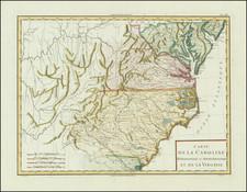 South, Southeast, Virginia, North Carolina and South Carolina Map By Pierre Antoine Tardieu