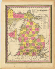 A New Map of Michigan with its Canals, Roads & Distances . . . 1847 By Samuel Augustus Mitchell