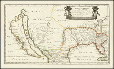 Florida, Southeast, Texas, Midwest, Southwest, California and California as an Island Map By Nicolas Sanson