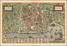 Southern Italy and Other Italian Cities Map By Georg Braun  &  Frans Hogenberg