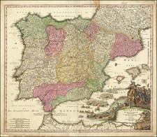 Spain and Portugal Map By Johann Baptist Homann