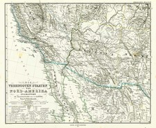 Southwest, Mexico, Baja California and California Map By Adolf Stieler