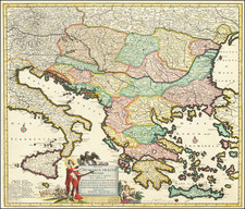 Hungary, Balkans, Turkey and Greece Map By Justus Danckerts