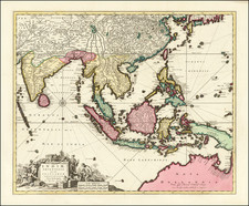 China, India, Southeast Asia and Australia Map By Nicolaes Visscher I / Peter Schenk