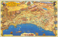 Pictorial Maps, California and Los Angeles Map By Roads To Romance Inc.