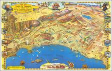 Pictorial Maps, Los Angeles and San Diego Map By Roads To Romance Inc.