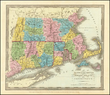 New England, Connecticut, Massachusetts and Rhode Island Map By David Hugh Burr