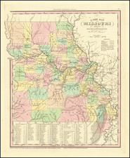 A New Map of Missouri with its Roads & Distances.  By H.S. Tanner. By Henry Schenk Tanner
