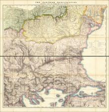 Romania, Serbia & Montenegro, Bulgaria, Turkey, Turkey & Asia Minor and Greece Map By Edward Stanford