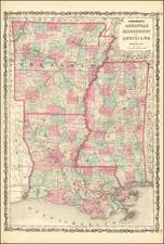 Johnson's Arkansas, Mississippi and Louisiana By Alvin Jewett Johnson  &  Benjamin P Ward