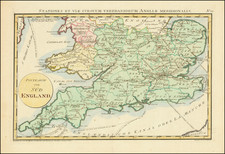 England Map By Franz Johann Joseph von Reilly
