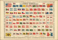 World and Curiosities Map By Benjamin P Ward  &  Alvin Jewett Johnson