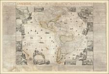 North America, South America and America Map By Nicolas de Fer