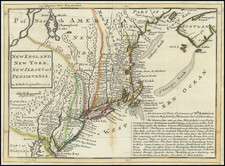 New England, Massachusetts, New York State, Mid-Atlantic, New Jersey and Pennsylvania Map By Herman Moll