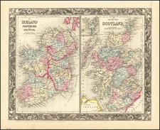Scotland and Ireland Map By Samuel Augustus Mitchell Jr.