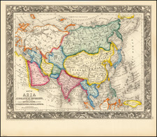 Asia Map By Samuel Augustus Mitchell Jr.