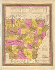 A New Map of Arkansas with its Canals Roads & Distances . . .1847 By Samuel Augustus Mitchell