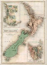 Australia & Oceania and New Zealand Map By Adam & Charles Black