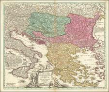 Romania, Balkans, Bulgaria and Greece Map By Johann Baptist Homann