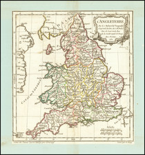 England Map By Didier Robert de Vaugondy