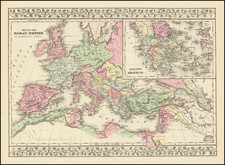Map of the Roman Empire in its Greatest Extent  [and Ancient Greece].  By Samuel Augustus Mitchell