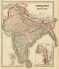 Asia and India Map By O.W. Gray
